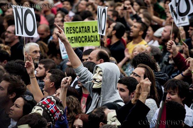 Madrid, le 25 septembre 2012. Manifestation des Indignés contre l'autérité. © Sylvain Cherkaoui / Cosmos