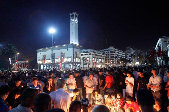 A Casablanca, le 6 août 2013, manifestation contre la libération du pédophile Daniel Galvan