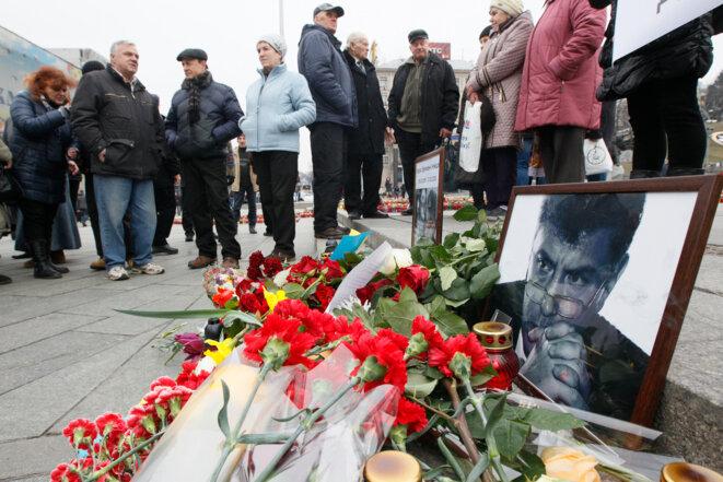 Samedi matin, à Moscou, sur les lieux de l'assassinat © Reuters