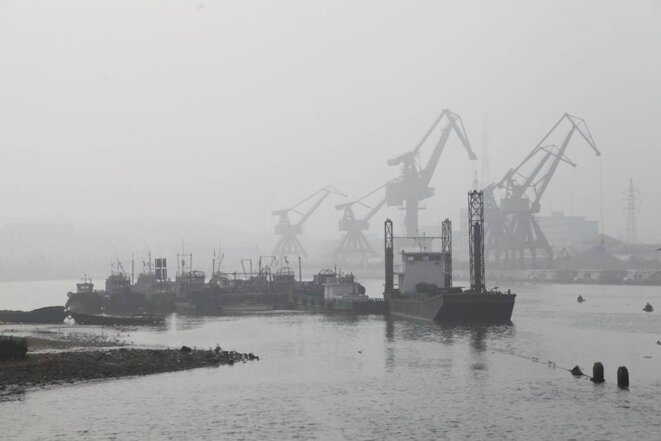 Les grues dans le port de Qinhuangdao