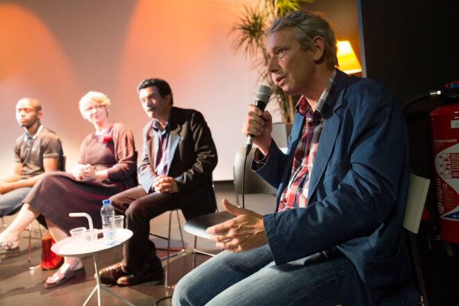 François Bonnet et Edwy Plenel, durant le débat. © Thomas Haley