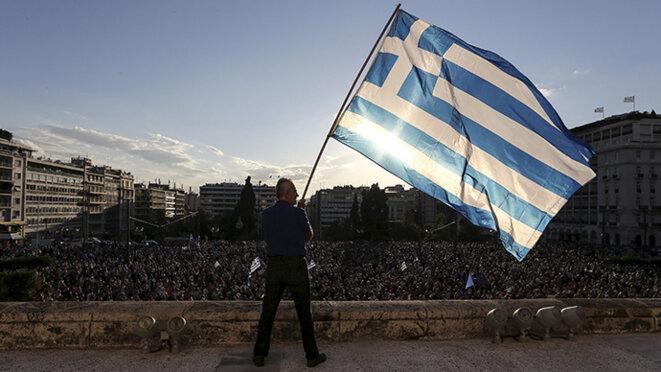 Durant la campagne pour le référendum en Grèce.