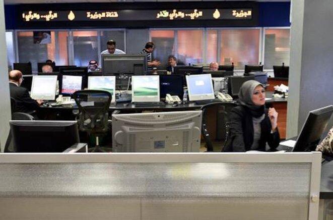 La salle de rédaction d'Al Jazeera à Doha © Thomas Cantaloube