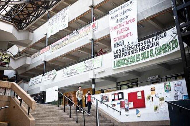 La faculté de Sciences Sociales de l'Université du Chili, en grève depuis plusieurs mois. © Thomas Cantaloube