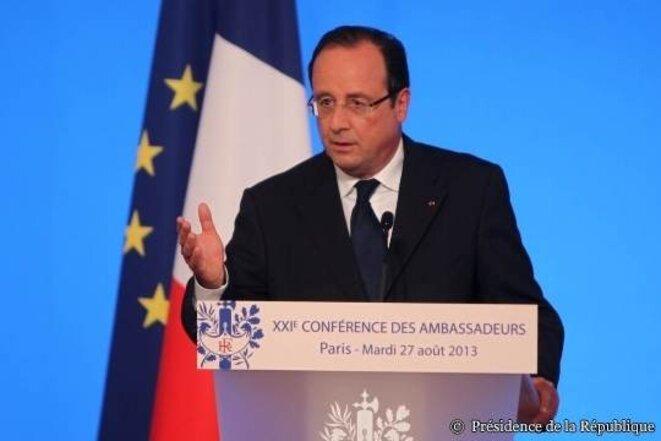 François Hollande devant les ambassadeurs réunis à l'Elysée, lundi 27 août. © Présidence de la République