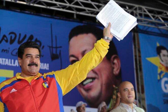 Nicolas Maduro lors d'un meeting du Gran Polo Patriotico en novembre 2014. © Reuters