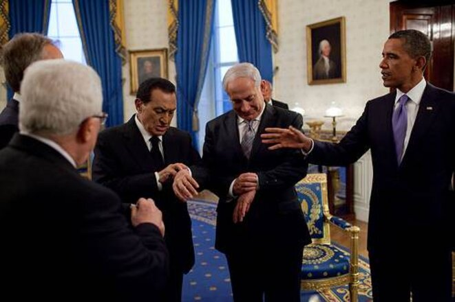 Obama reçoit Netanyahou, Moubarak et Abbas à la Maison-Blanche le 1er septembre 2010.