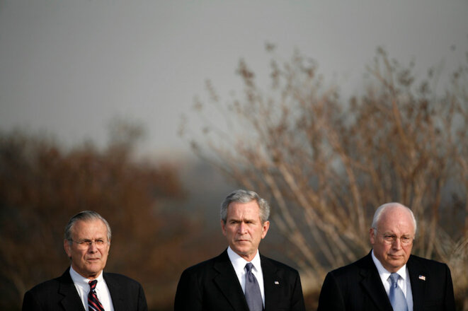 Rumsfeld, Bush et Cheney en 2006 © Kevin Lamarque/Reuters