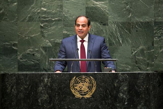 Abdel Fattah el-Sissi à la tribune de l'Assemblée générale des Nations-Unies le 24 septembre 2014 © UN Photo/Cia Pak