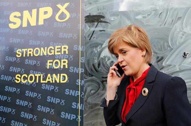 Nicola Sturgeon, la leader du SNP lors d'un meeting de campagne le 4 mai 2015. © Russell Cheyne/Reuters