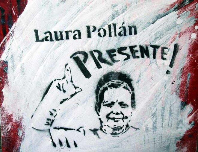 Pochoir à l'effigie de Laura Pollán, leader des Dames en blanc.