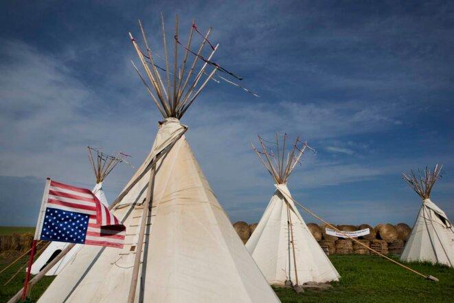 Le camp indien d'Iwska, érigé sur le trace du pipeline © Jean-Marc Giboux