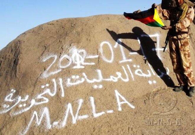 Un combatant du MNLA célébrant le début de la rébellion de janvier 2012.