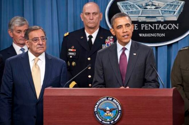 Leon Panetta et Barack Obama au Pentagone jeudi 5 janvier. © Erin A. Kirk-Cuomo/DOD