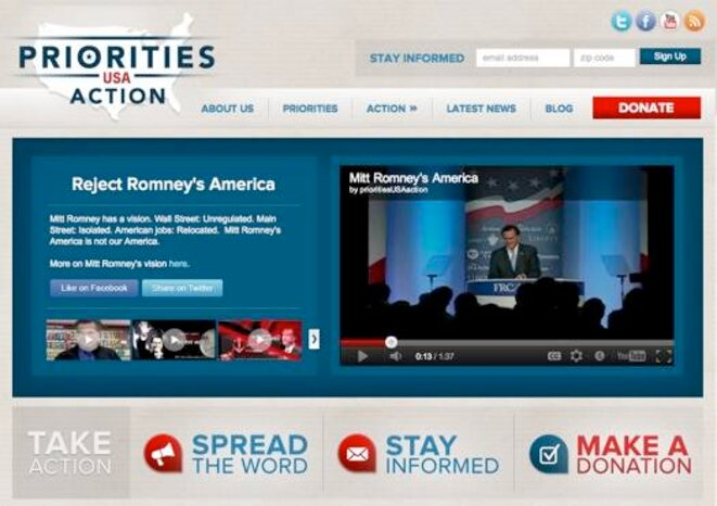 Le site web du super PAC d'Obama, qui joue la défensive face à Romney et Rove.