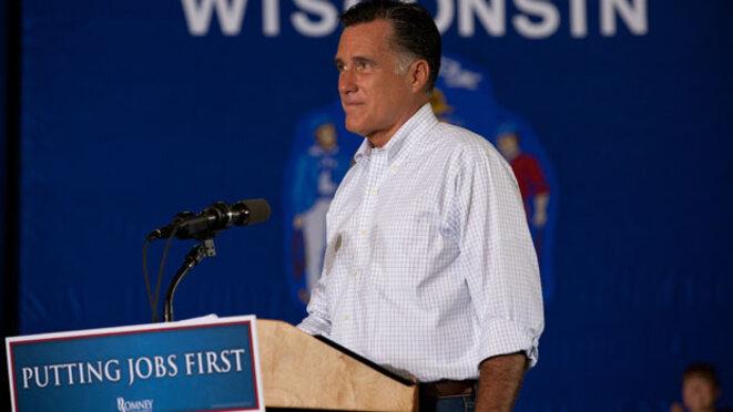 Romney en campagne essayant de faire passer son message sur les créations d'emplois. © DR