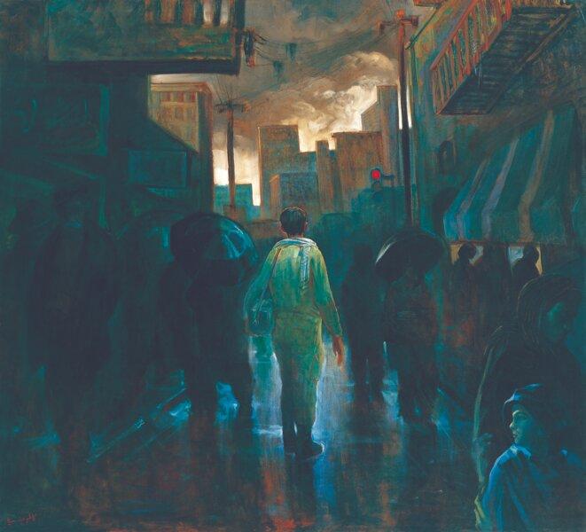 Kazem Chalipa (né en 1957) Bassidjiy, 1985 Huile sur toile