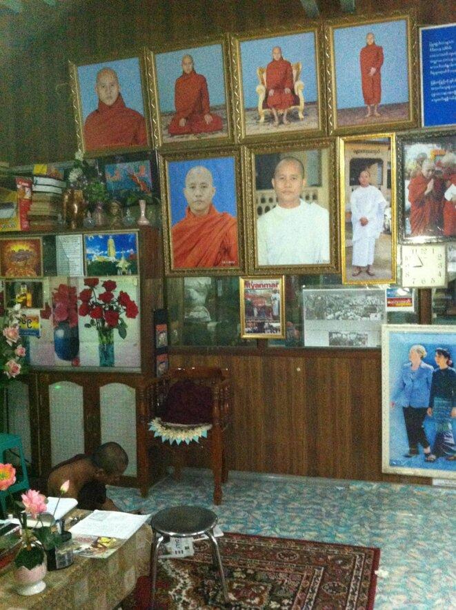 Le bureau de Wirathu au monastère Ma Soe Yein © JC