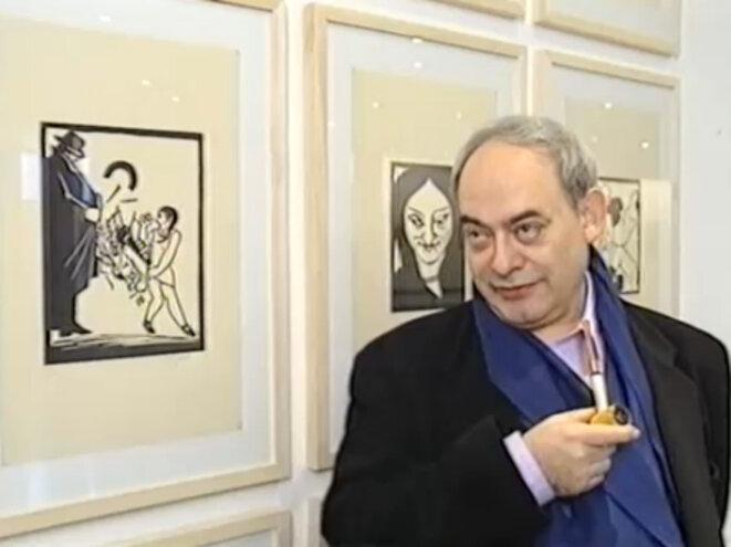 Roland Topor, lors d'une exposition en Belgique © (collection Frantz Vaillant