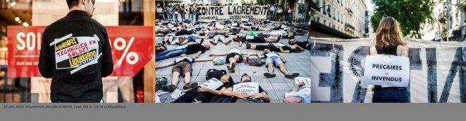Mouvement intermittents Lyon Die In Rue de la république © henri granjean/item