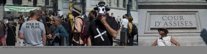 Rassemblement en soutien au procès de la ferme des 1000 vaches, Palais de Justice, Lyon. © henri granjean/item