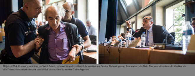 Evacuation de Alain Moreau, directeur du théâtre de Villefreanche et représentant du comité de soutien du centre Théo Argence. © henri granjean/item