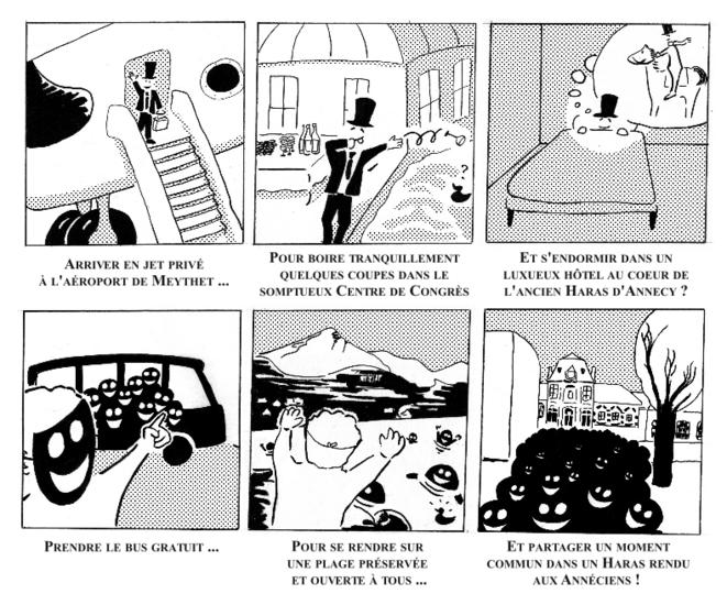 """6 cases pour illustrer le """"programme contre programme"""" © Julian Augé"""