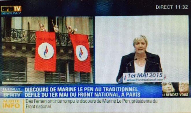 Retransmission du 1er mai du FN sur BFMTV (01/05/2015) © BFMTV via twitter
