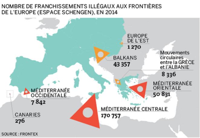 Estimations Frontex pour l'année 2014 d'immigrés illegaux (reportés sur unee carte Le Monde)  © Estimations Frontex (reportés sur unee carte Le Monde)