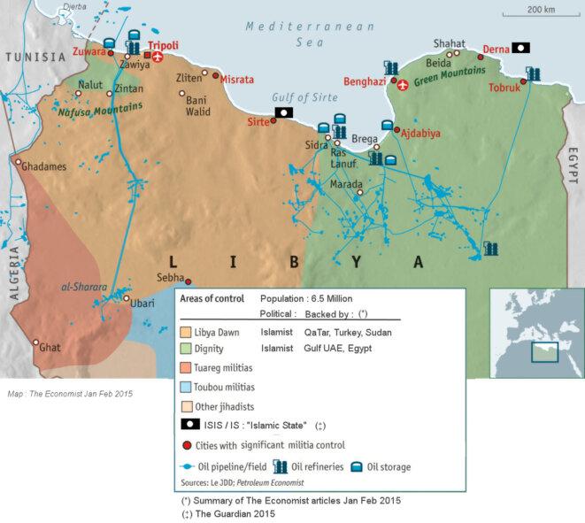 Carte Lybie début 2015  © (via The Economist)