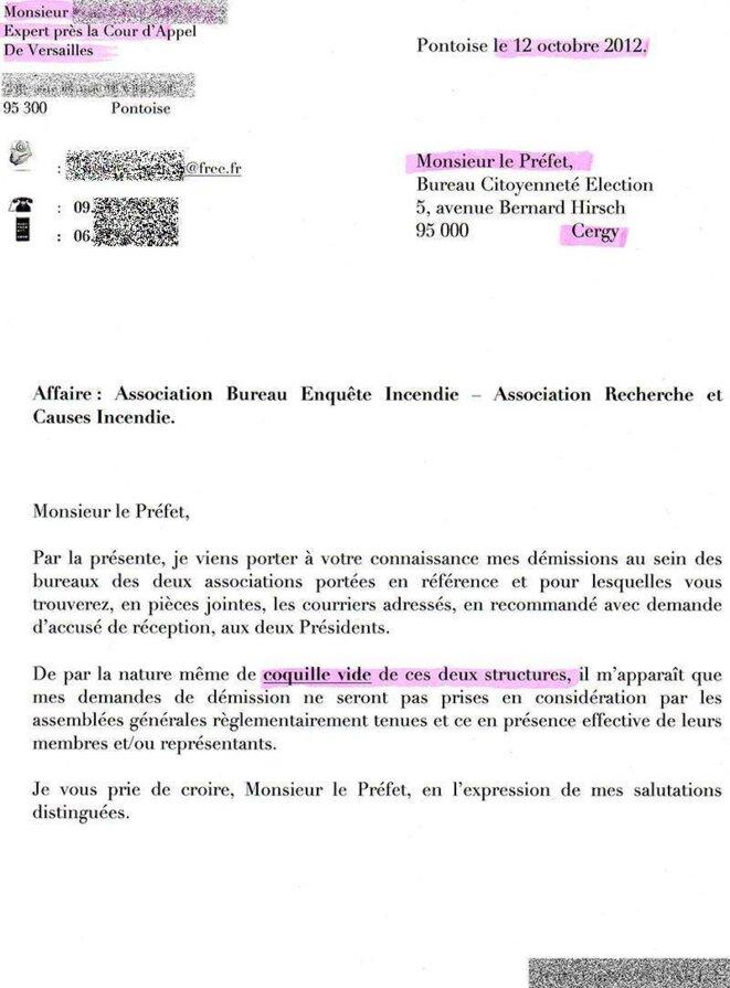 lettre de demission pompier volontaire