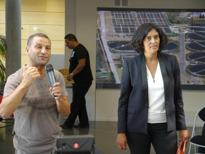 Myriam El Khomri accompagnée de Mohamed Mechmache