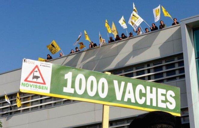 Manifestation contre le projet des 1000 vaches