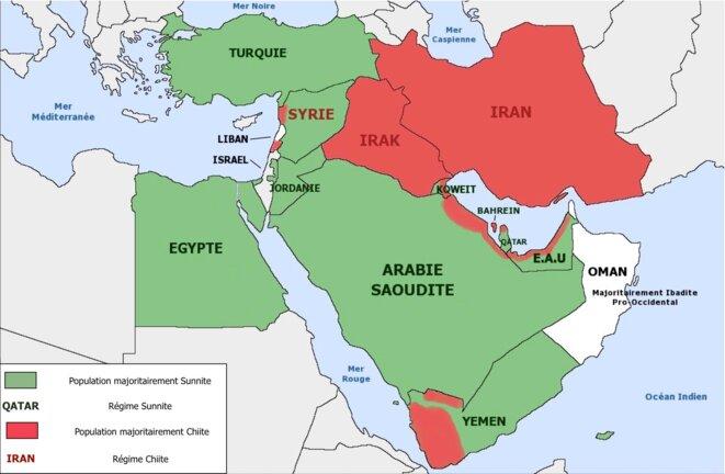 carte Shi'ite et sunnites de nos jours