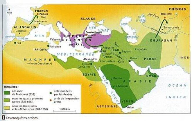 carte de l'expansion Arabe