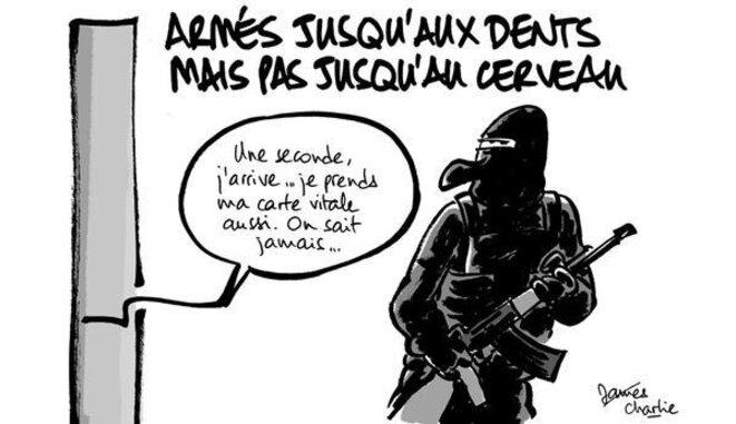 Caricature : « Armés jusqu'aux dents mais pas jusqu'au cerveau » © James Van Ottoprod