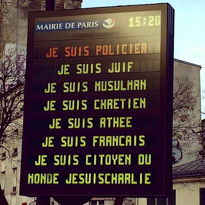 Je suis policier Je suis juif Je suis musulman Je suis chrétien Je suis athée Je suis français Je suis citoyen du monde Je suis Charlie