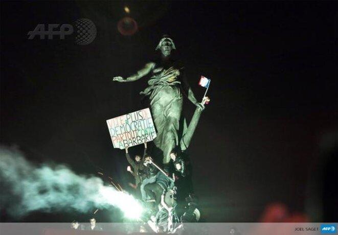 La statue de la Place de la République, photo emblématique et historique de la marche du 11 janvier 2015 © AFP
