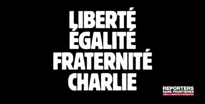 Liberté, Égalité, Fraternité, Charlie © Reporters sans frontières