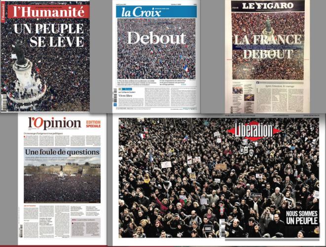 Les Unes au lendemain de la marche du 11 janvier 2015 © l'Humanité, la Croix, Le Figaro, l'Opinion, Libération