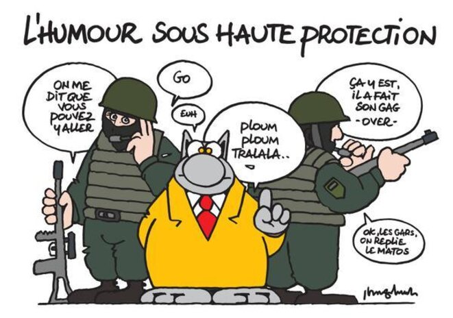 Caricature : L'humour sous haute protection © Philippe Geluck