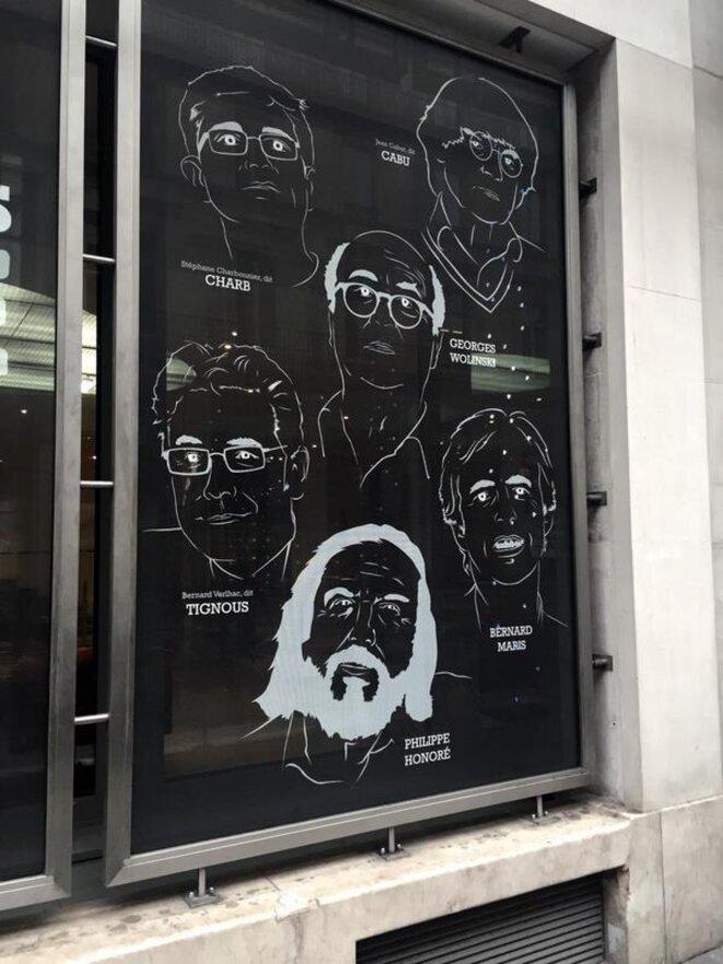 Cabu, Charb, Georges Wolinski, Tignous, Bernard Maris, Philippe Honoré