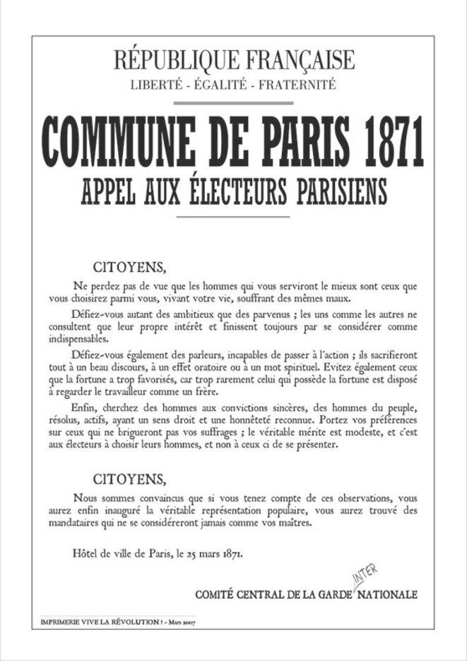 Commune de Paris 1871 - Appel aux électeurs