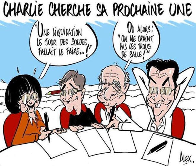 Caricature : « Charlie cherche sa nouvelle Une » © Alex
