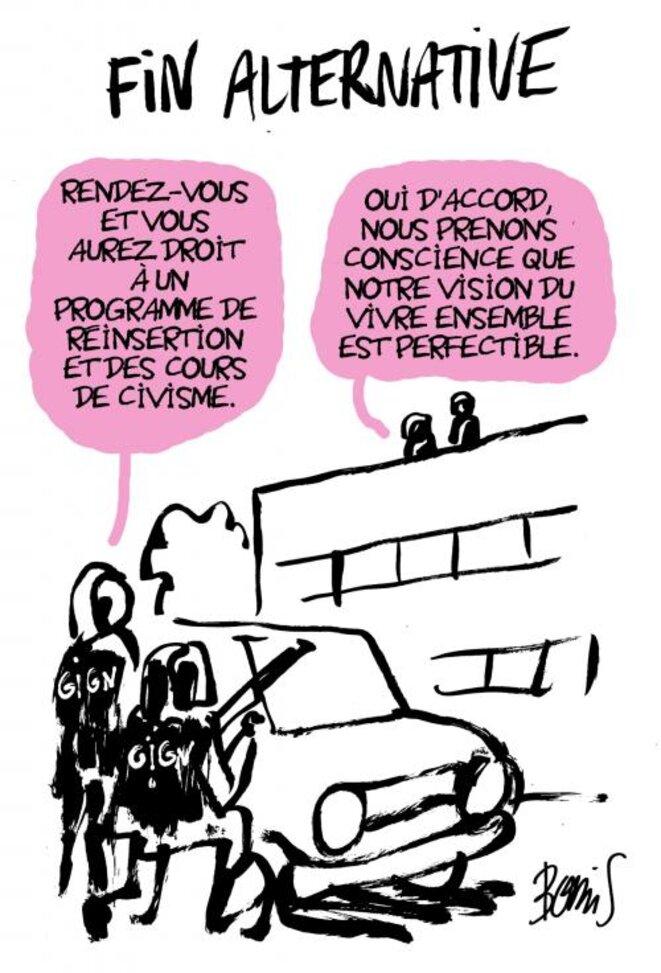 Caricature : Fin alternative © Hervé Bourhis via Mediapart