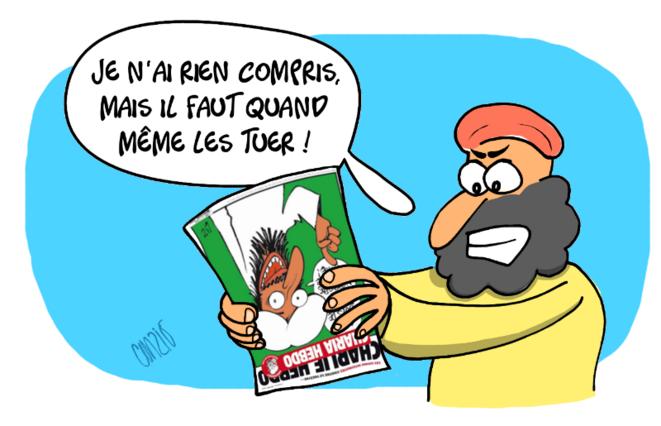 Caricature : « Je n'ai rien compris mais il faut quand même les tuer ! » © Curzio