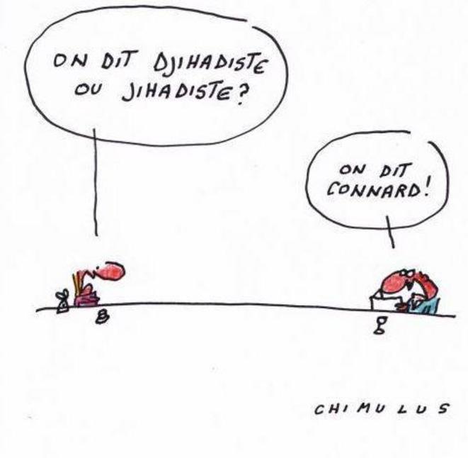 Caricature : « On dit djihadiste ou jihadiste ? » © Chimulus