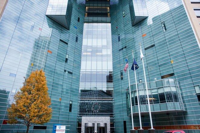 En 2003, l'entreprise Compuware a construit ce bâtiment de 18 étages au coeur de la ville pour installer son siège social. © Nastasia Peteuil