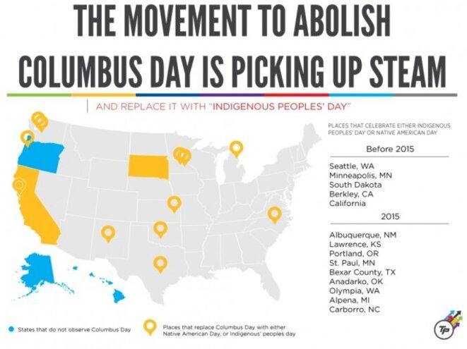 Ces villes et Etats qui abandonnent le Columbus Day pour fête l'Indigenous Day. © CREDIT: THINKPROGRESS/DYLAN PETROHILOS