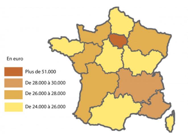 Le PIB des 13 nouvelles régions (d'après l'INSEE)